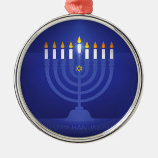 Ornamento De Metal hanukkah feliz azul