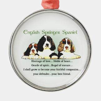 Ornamento De Metal Herança do Spaniel de Springer inglês do amor