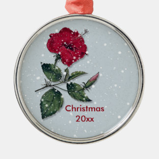 Ornamento De Metal Hibiscus vermelho no Natal da neve
