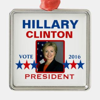 Ornamento De Metal Hillary Clinton para o presidente 2016