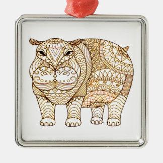 Ornamento De Metal Hipopótamo