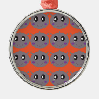 Ornamento De Metal Hipopótamos pequenos bonitos na laranja
