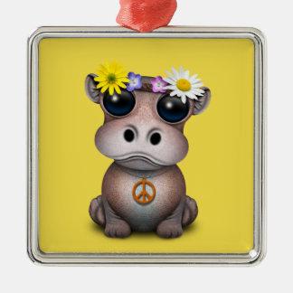 Ornamento De Metal Hippie bonito do hipopótamo do bebê