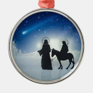 Ornamento De Metal História Mary e Jesus do Natal