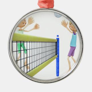 Ornamento De Metal Homens dos desenhos animados que jogam o voleibol