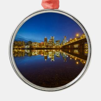 Ornamento De Metal Hora do azul da skyline da cidade de Portland OU