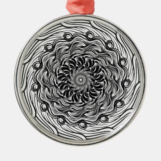 Ornamento De Metal Ilusão óptica do Doodle ornamentado do zen preto e