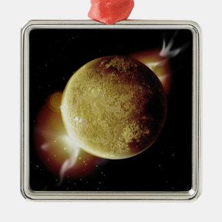 Ornamento De Metal ilustração amarela do planeta 3d no universo