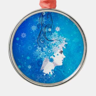 Ornamento De Metal Ilustração da menina do inverno