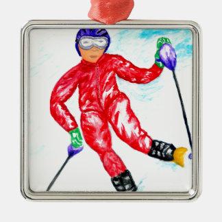 Ornamento De Metal Ilustração do esporte do esquiador