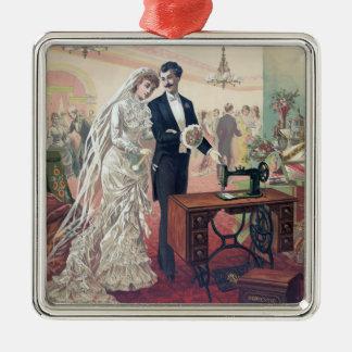 Ornamento De Metal Ilustração dos noivos do vintage