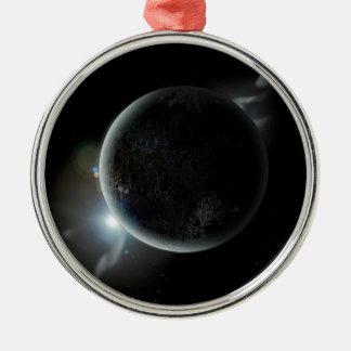 Ornamento De Metal ilustração preta do planeta 3d no universo