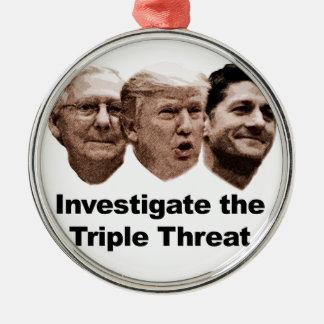 Ornamento De Metal Investigue a ameaça tripla