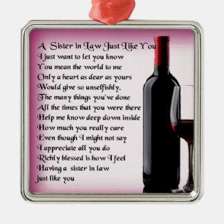 Ornamento De Metal Irmã   do vinho no poema da lei