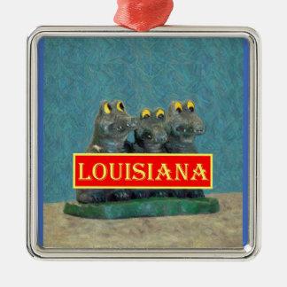 Ornamento De Metal Jacarés de Louisiana que pintam 1.jpg