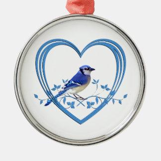 Ornamento De Metal Jay azul no coração