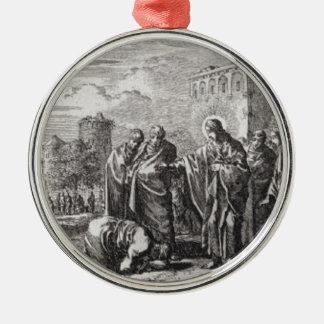 Ornamento De Metal Jesus confronta 12 apóstolos