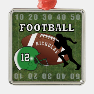Ornamento De Metal Jogador de futebol e capacete verde