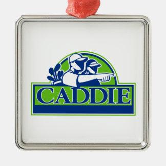 Ornamento De Metal Jogador de golfe profissional e Caddie retros