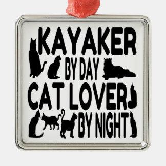 Ornamento De Metal Kayaker do amante do gato