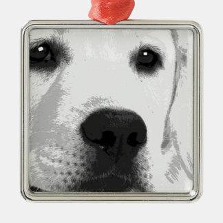 Ornamento De Metal Labrador retriever preto e branco