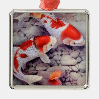 Ornamento De Metal Lagoa de peixes vermelha e branca de Koi