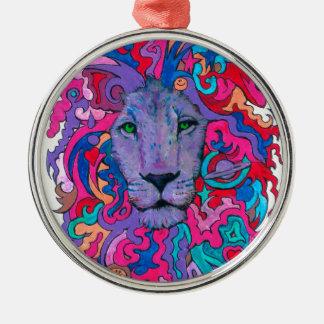 Ornamento De Metal Leão psicadélico roxo