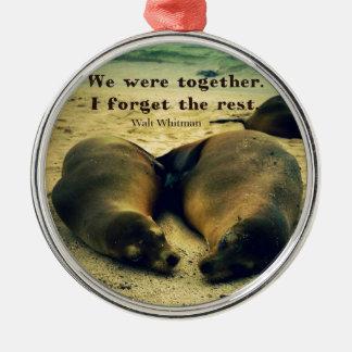 Ornamento De Metal Leões de mar das citações do casal do amor na