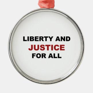 Ornamento De Metal Liberdade e JUSTIÇA para tudo