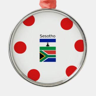Ornamento De Metal Língua de Sesotho e bandeiras de Lesotho/África do