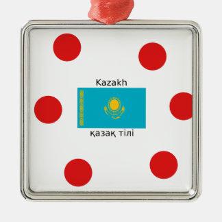 Ornamento De Metal Língua do Cazaque e design da bandeira de