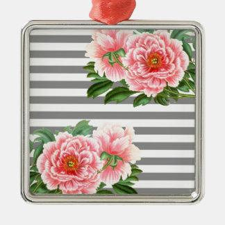 Ornamento De Metal Linhas cor-de-rosa do cinza das peônias