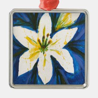 Ornamento De Metal Lírio branco na coleção azul por Jane