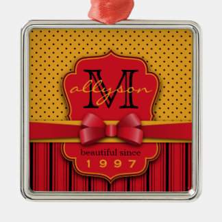 Ornamento De Metal Listras amarelas retros do vermelho das bolinhas