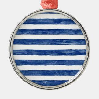 Ornamento De Metal Listras azuis náuticas que pintam a arte