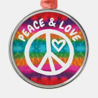 Ornamento De Metal Listras da tintura do laço da paz e do amor