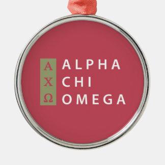 Ornamento De Metal Logotipo empilhado   alfa de Omega do qui