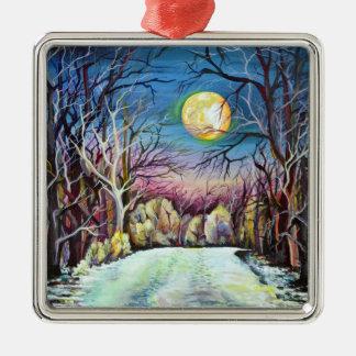 Ornamento De Metal Lua cheia silenciosa do inverno da noite na suecia