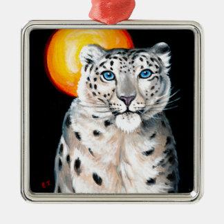 Ornamento De Metal Lua do leopardo de neve
