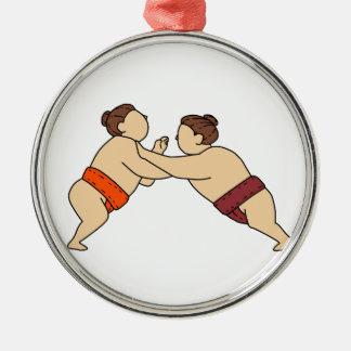 Ornamento De Metal Lutador do Sumo de Rikishi que empurra a mono