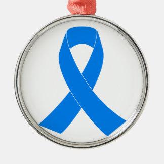 Ornamento De Metal Luz - fita azul da consciência