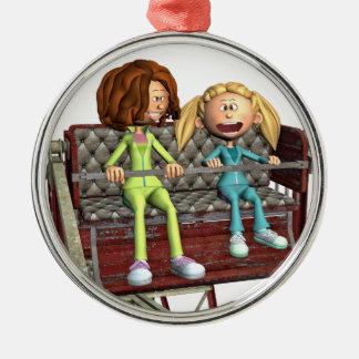 Ornamento De Metal Mãe e filha dos desenhos animados em uma roda de