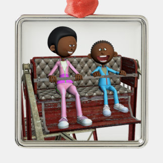 Ornamento De Metal Mãe e filho dos desenhos animados em uma roda de