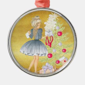 Ornamento De Metal Mágica do Natal - louro que decora uma árvore