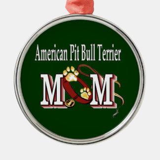 Ornamento De Metal mamã americana do terrier de pitbull
