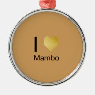 Ornamento De Metal Mambo Playfully elegante do coração de I
