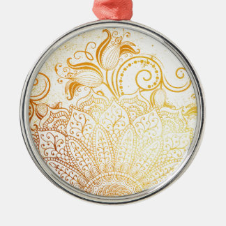 Ornamento De Metal Mandala - escova dourada