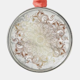 Ornamento De Metal Mandala - ouro & mármore