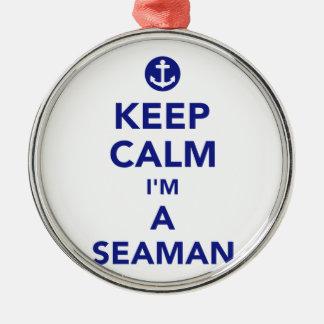 Ornamento De Metal Mantenha a calma que eu sou um marinheiro