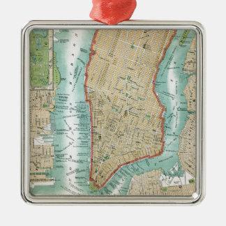 Ornamento De Metal Mapa antigo do Lower Manhattan e do Central Park
